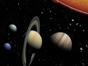 Sun, planets and major moons