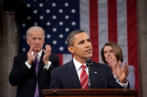 Barack Obama making all sorts of great sounding promises at his State of the Union Speech, January, 2010.