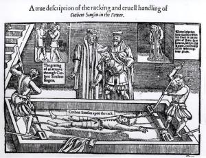 Illustration from John Foxe's Book of Martyrs, first published in 1563; Simson was a Protestant Minister tortured for heresy during the reign of Queen Mary I (1553-58); later he was burnt at Smithfield.