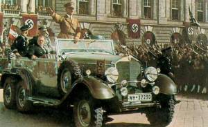 April 1938, Hitler tours Vienna after a bloodless invasion of Austria.