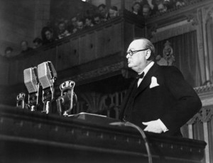 Winston Churchill gave some of greatest war time speeches of the 20th century. In this official Canadian government photo he is shown addressing the Canadian Parliament on December 30, 1941.