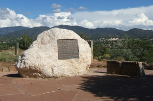 This marker, which was dedicated in 2002, commemorates the Internment Camp at Santa Fe, New Mexico where over 4,500 men of Japanese heritage were detained during WWII. The memorial sits atop  a hill that once overlooked the camp.
