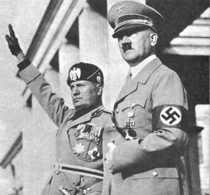 Mussolini and Hitler meet in Rome, May 1938.