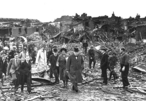Winston Churchill inspects bomb damage in South London, September 10, 1940. (Getty Images)