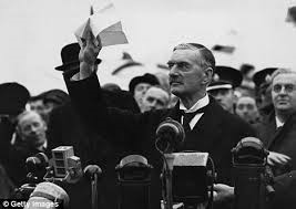 On the eve of WWII, British Prime Minister Chamberlain displayed a peace agreement with Adolf Hitler. Chamberlain was mistaken when he claimed there would be